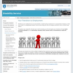 Planning your Career : Disability Service:Trinity College Dublin