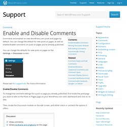 Enable and Disable Comments