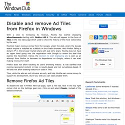 Disable and remove Ad Tiles from Firefox in Windows