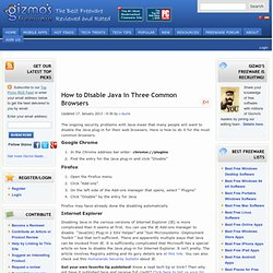 How to Disable Java in Three Common Browsers