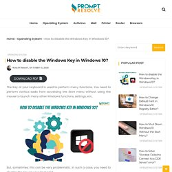 How to disable the Windows Key in Windows 10? - Prompt Resolve