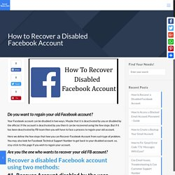 How to Recover a Disabled Facebook Account - Complete Guide