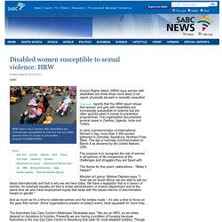 Disabled women susceptible to sexual violence: HRW:Friday 6 March 2015