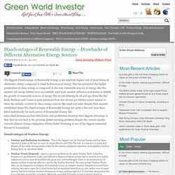 Disadvantages of Renewable Energy – Drawbacks of Different Alternative Energy Sources