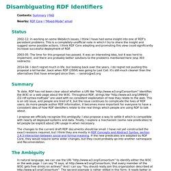 Disambiguating RDF Identifiers