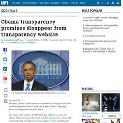 Obama promises disappear from transparency website