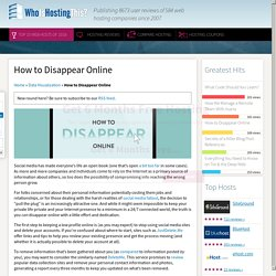 How to Disappear Online at WhoIsHostingThis