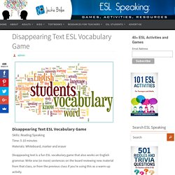 Disappearing Text ESL Vocabulary Game
