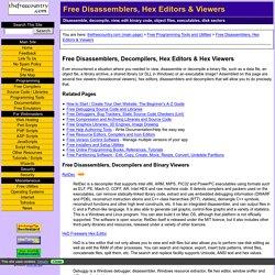 Free Disassemblers, Decompilers, Hexadecimal viewers, Hex editors