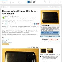 Disassembling Creative ZEN Screen and Battery