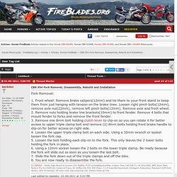 CBR 954 Fork Removal, Disassembly, Rebuild and Installation - Honda Motorcycles - FireBlades.org