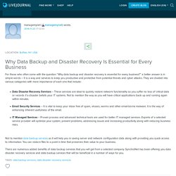 Why Data Backup and Disaster Recovery Is Essential for Every Business: managemynet