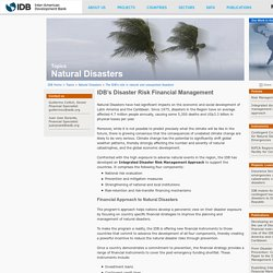 IDB - IDB's Disaster Risk Financial Management