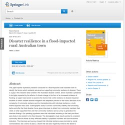 Disaster resilience in a flood-impacted rural Australian town