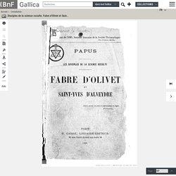 Fabre d'Olivet & Saint-Yves d'Alveydre