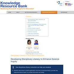 Disciplinary Literacy in the Science Classroom - Knowledge Resource Bank