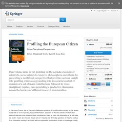 Profiling the European Citizen - Cross-Disciplinary