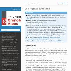 La discipline dans la classe — Docs Education Univ. Grenoble Alpes