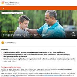 Discipline Strategies - Behavioural Management for Teenagers