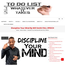 Discipline Your Mind By Will Smith