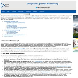 Disciplined Agile Data Warehousing