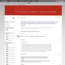 Perception des disciplines scolaires et sexe des élèves: le cas des enseignants et des élèves de l'école primaire en France