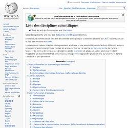 Liste des disciplines scientifiques