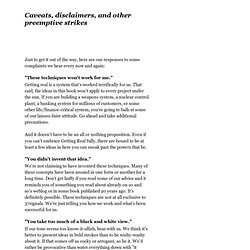 Caveats, disclaimers, and other preemptive strikes