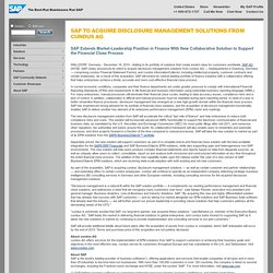 SAP to Acquire Disclosure Management Solutions from cundus AG