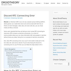 Fix Discord Stuck in RTC Connecting Error
