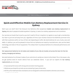 Discount Car Batteries- Mobile cars Battery Replacement Sydney