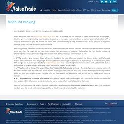 Discount Stock Brokers Online, Best Share Broker India - My Value Trade