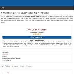 Discount Coupon Codes 4WD 2020, 4 Wheel Parts Promo Codes