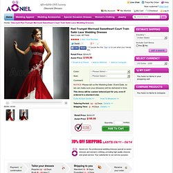 Discount Red Trumpet Mermaid Sweetheart Court Train Satin Lace Wedding Dresses - US$169.99