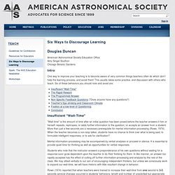 Six Ways to Discourage Learning | American Astronomical Society