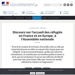 Discours sur l'accueil des réfugiés en France et en Europe, à l'Assemblée nationale