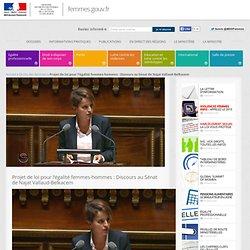Projet de loi pour l'égalité femmes-hommes : Discours au Sénat de Najat Vallaud-Belkacem