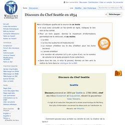 Discours du Chef Seattle en 1854
