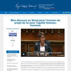 Mon discours au Sénat pour l'examen du projet de loi pour l'égalité femmes-hommes