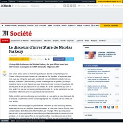 Le discours d'investiture de Nicolas Sarkozy