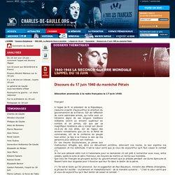 Discours du 17 juin 1940 du maréchal Pétain