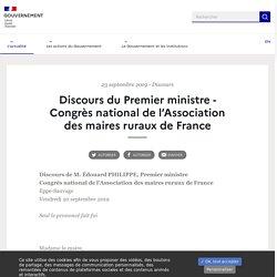 Discours du Premier ministre - Congrès national de l'Association des maires ruraux de France