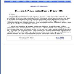 Discours de Pétain, 17 juin 1940