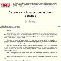 Discours sur la question du libre-échange - K. Marx (1848)