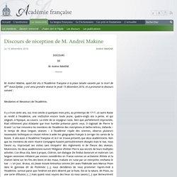 Discours de réception de M. Andreï Makine