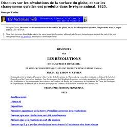 Cuvier, Discours sur les révolutions de la surface du globe 1825