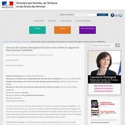 Discours de Laurence Rossignol à l'occasion de la remise du rapport de Mme Sylviane GIAMPINO