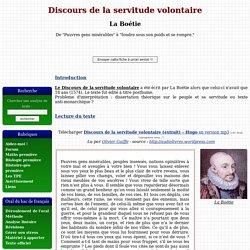 Discours de la servitude volontaire - La Boétie