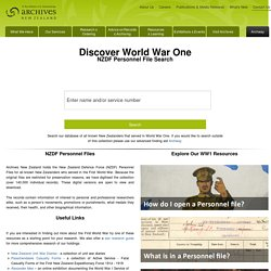 Archives New Zealand - Discover World War One