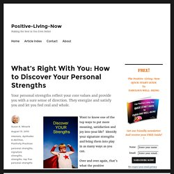 How to Discover Your Personal Strengths - Positive-Living-Now
